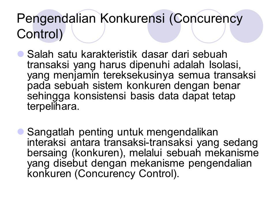 Pengendalian Konkurensi (Concurency Control) Salah satu karakteristik dasar dari sebuah transaksi yang harus dipenuhi adalah Isolasi, yang menjamin te
