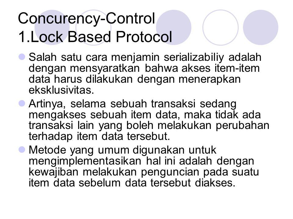 Concurency-Control 1.Lock Based Protocol Salah satu cara menjamin serializabiliy adalah dengan mensyaratkan bahwa akses item-item data harus dilakukan