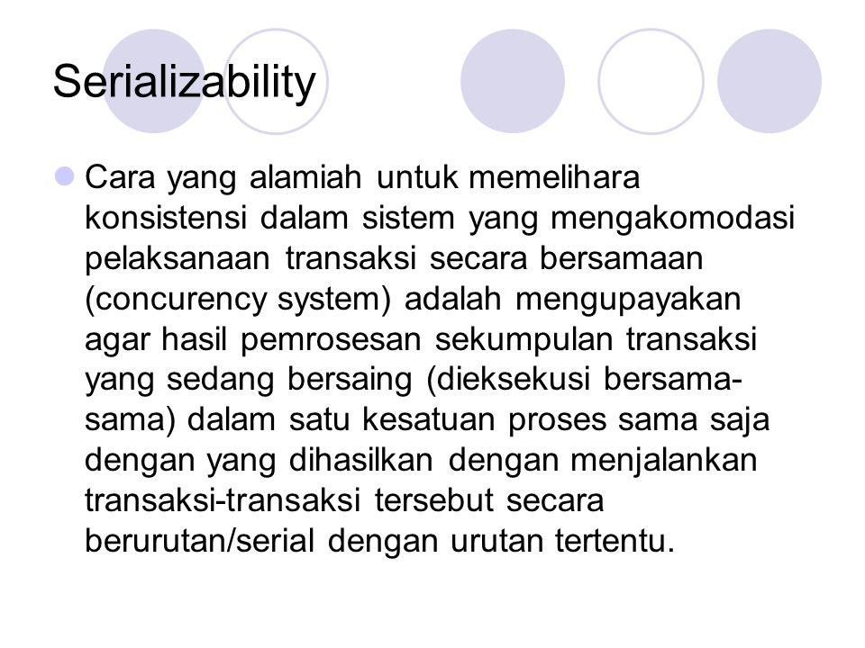 Serializability Cara yang alamiah untuk memelihara konsistensi dalam sistem yang mengakomodasi pelaksanaan transaksi secara bersamaan (concurency syst