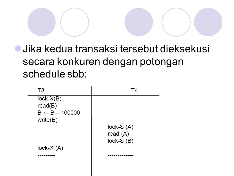 Jika kedua transaksi tersebut dieksekusi secara konkuren dengan potongan schedule sbb: T3T4 lock-X(B) read(B) B ← B – 100000 write(B) lock-S (A) read