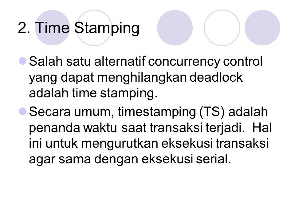 2. Time Stamping Salah satu alternatif concurrency control yang dapat menghilangkan deadlock adalah time stamping. Secara umum, timestamping (TS) adal