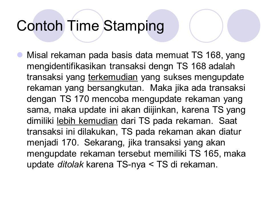 Contoh Time Stamping Misal rekaman pada basis data memuat TS 168, yang mengidentifikasikan transaksi dengn TS 168 adalah transaksi yang terkemudian ya