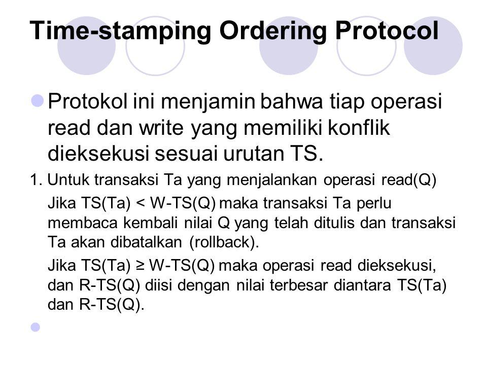 Time-stamping Ordering Protocol Protokol ini menjamin bahwa tiap operasi read dan write yang memiliki konflik dieksekusi sesuai urutan TS. 1. Untuk tr