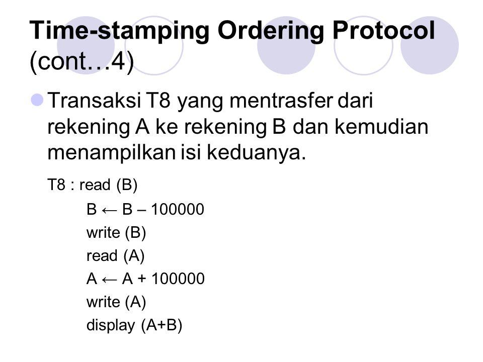 Time-stamping Ordering Protocol (cont…4) Transaksi T8 yang mentrasfer dari rekening A ke rekening B dan kemudian menampilkan isi keduanya. T8 : read (