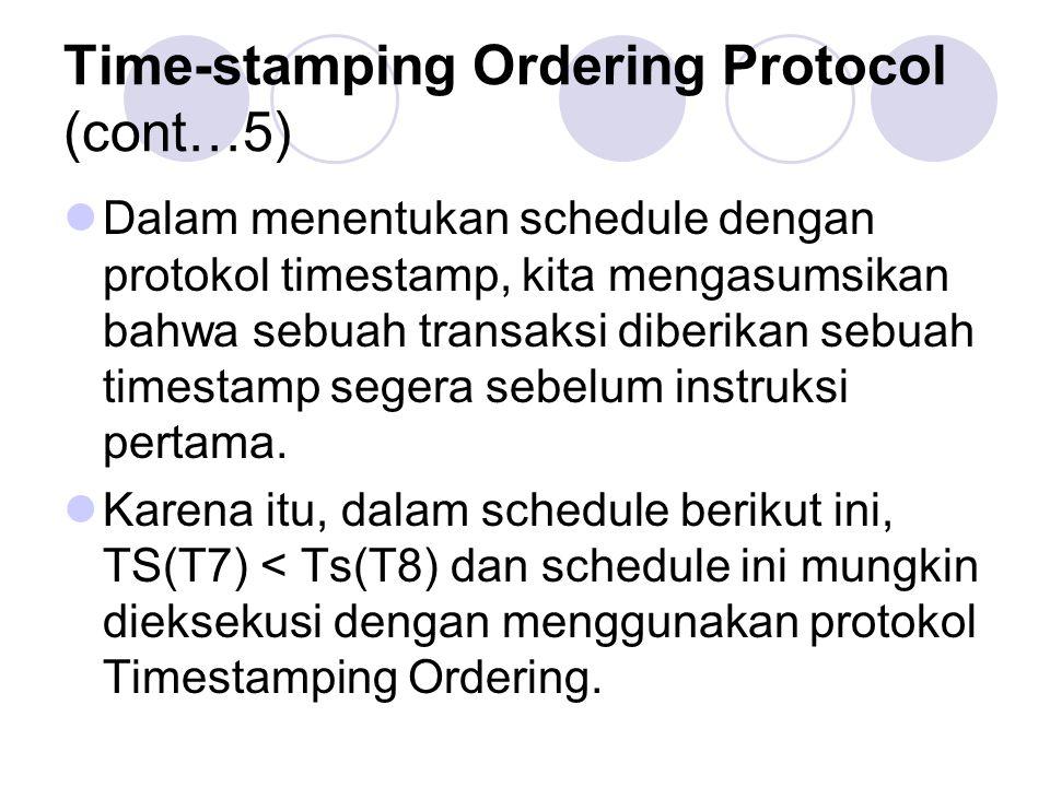 Time-stamping Ordering Protocol (cont…5) Dalam menentukan schedule dengan protokol timestamp, kita mengasumsikan bahwa sebuah transaksi diberikan sebu