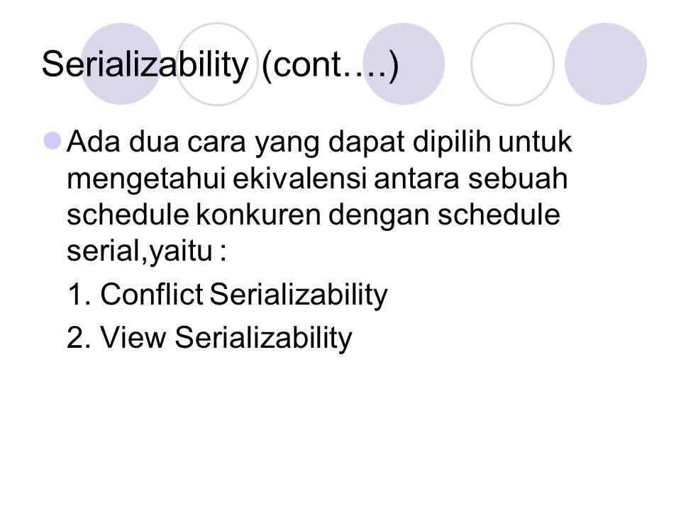 Serializability (cont….) Ada dua cara yang dapat dipilih untuk mengetahui ekivalensi antara sebuah schedule konkuren dengan schedule serial,yaitu : 1.