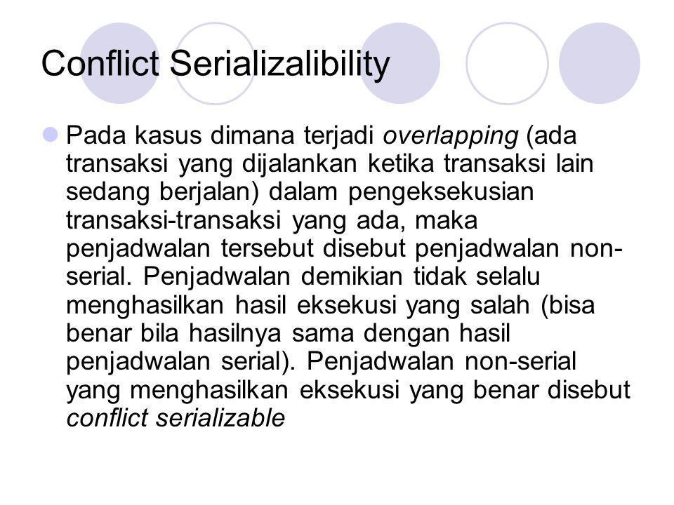 Conflict Serializalibility Pada kasus dimana terjadi overlapping (ada transaksi yang dijalankan ketika transaksi lain sedang berjalan) dalam pengeksek