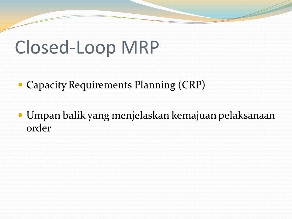 Closed-Loop MRP Capacity Requirements Planning (CRP) Umpan balik yang menjelaskan kemajuan pelaksanaan order