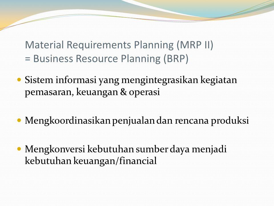 Material Requirements Planning (MRP II) = Business Resource Planning (BRP) Sistem informasi yang mengintegrasikan kegiatan pemasaran, keuangan & operasi Mengkoordinasikan penjualan dan rencana produksi Mengkonversi kebutuhan sumber daya menjadi kebutuhan keuangan/financial