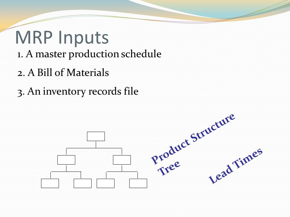 MRP Inputs 1. A master production schedule 2. A Bill of Materials 3.