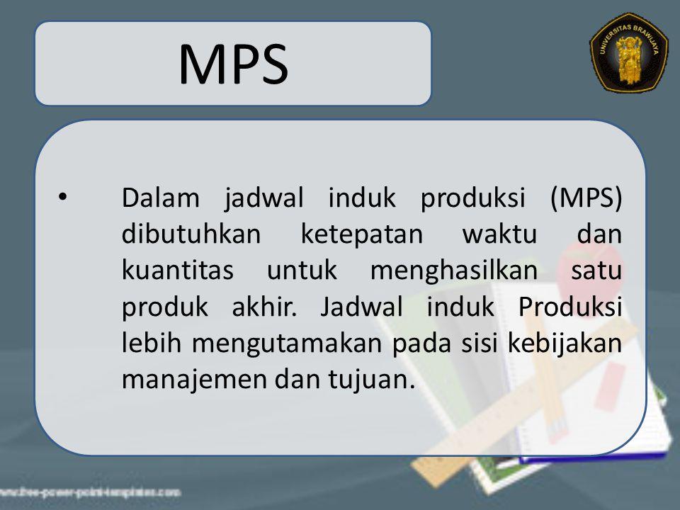 MPS Tujuan dari jadwal induk produksi ini adalah menjadwalkan jumlah produksi pada setiap periode perencanaan, dan juga meminimalkan biaya dan pengurangan penumpukan kapasitas produk (bottle neck).