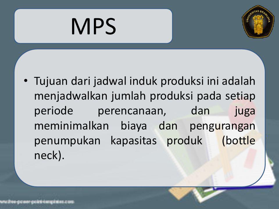 MPS Tujuan dari jadwal induk produksi ini adalah menjadwalkan jumlah produksi pada setiap periode perencanaan, dan juga meminimalkan biaya dan pengura
