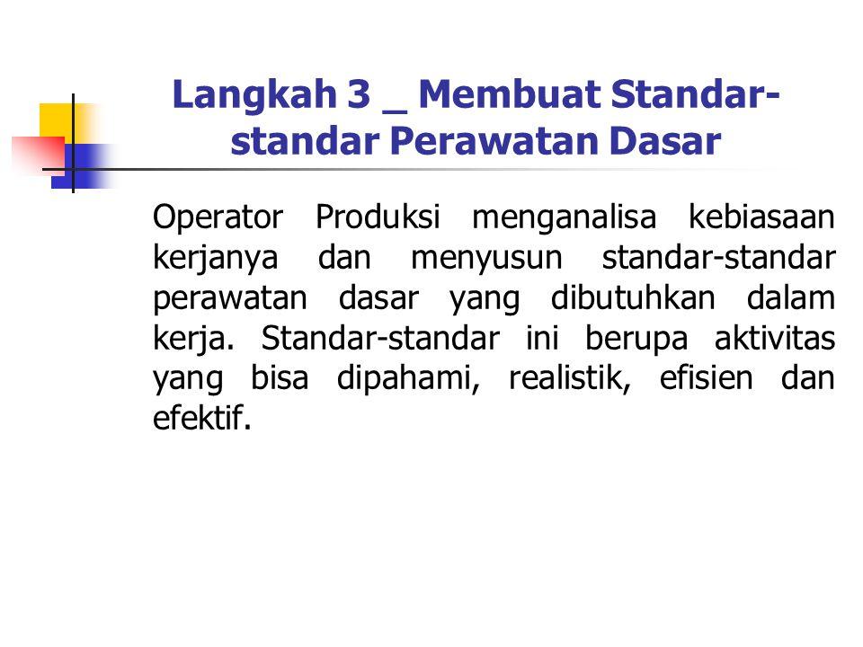 Langkah 3 _ Membuat Standar- standar Perawatan Dasar Operator Produksi menganalisa kebiasaan kerjanya dan menyusun standar-standar perawatan dasar yan
