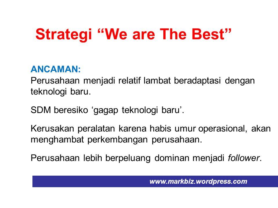 """Strategi """"We are The Best"""" www.markbiz.wordpress.com ANCAMAN: Perusahaan menjadi relatif lambat beradaptasi dengan teknologi baru. SDM beresiko 'gagap"""