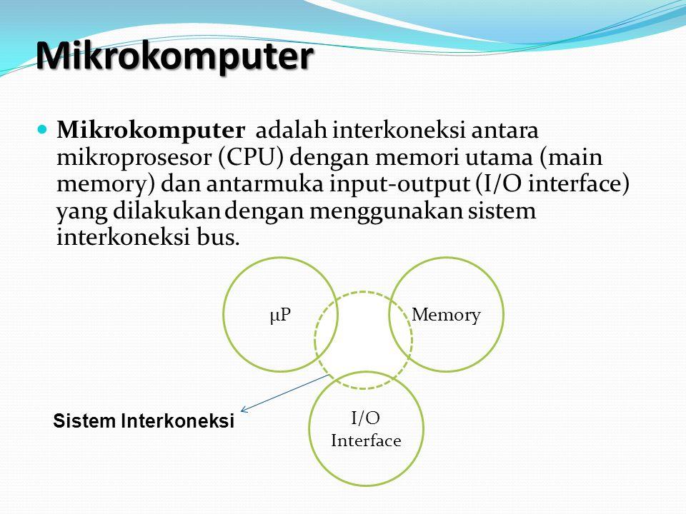 Mikrokomputer Mikrokomputer adalah interkoneksi antara mikroprosesor (CPU) dengan memori utama (main memory) dan antarmuka input-output (I/O interface) yang dilakukan dengan menggunakan sistem interkoneksi bus.