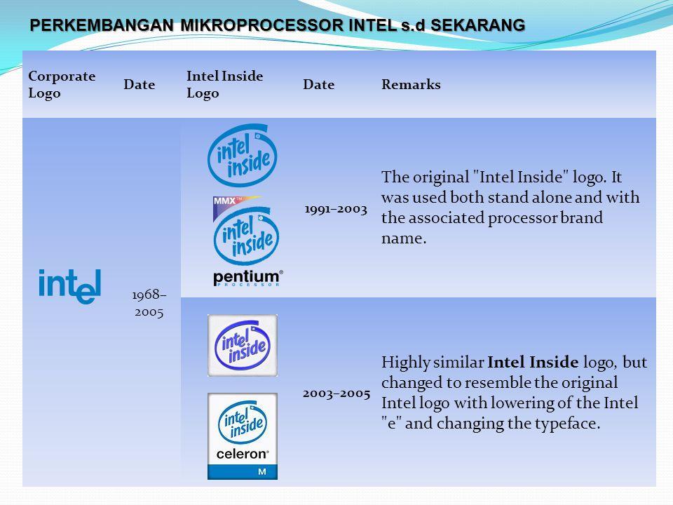Corporate Logo Date Intel Inside Logo DateRemarks 1968– 2005 1991–2003 The original