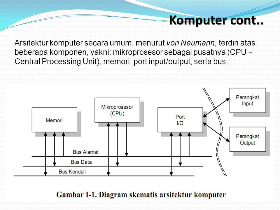 Komputer cont.. Arsitektur komputer secara umum, menurut von Neumann, terdiri atas beberapa komponen, yakni: mikroprosesor sebagai pusatnya (CPU = Cen
