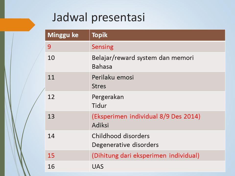 Jadwal presentasi Minggu keTopik 9Sensing 10Belajar/reward system dan memori Bahasa 11Perilaku emosi Stres 12Pergerakan Tidur 13(Eksperimen individual