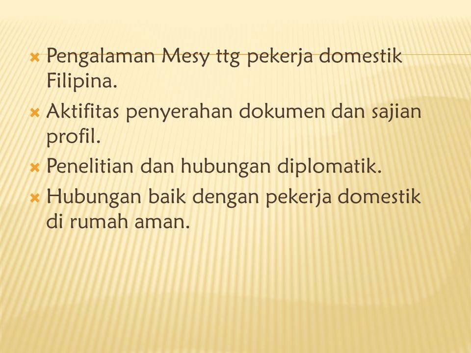 Pengalaman Mesy ttg pekerja domestik Filipina.  Aktifitas penyerahan dokumen dan sajian profil.  Penelitian dan hubungan diplomatik.  Hubungan ba