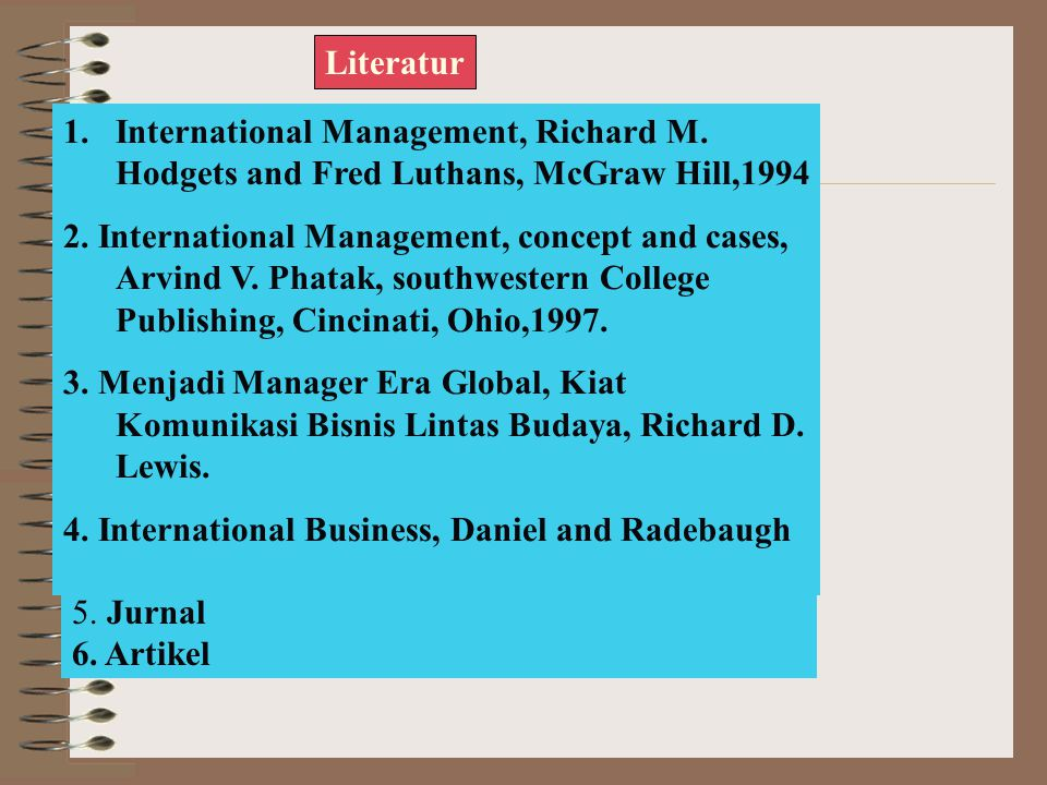 Literatur 1.International Management, Richard M.Hodgets and Fred Luthans, McGraw Hill,1994 2.