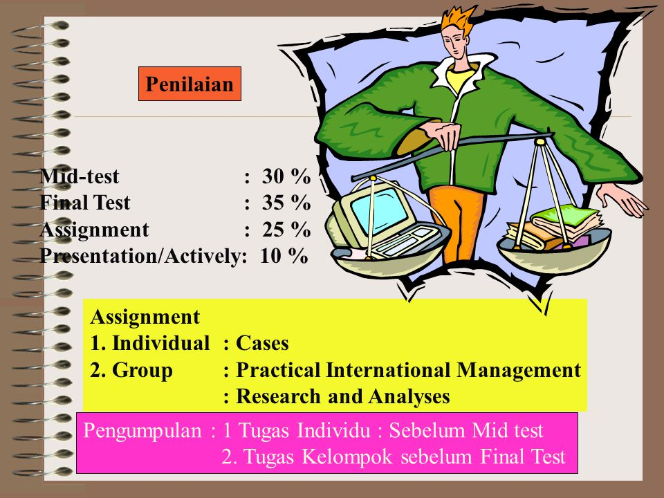 Penilaian Mid-test : 30 % Final Test : 35 % Assignment : 25 % Presentation/Actively: 10 % Assignment 1.