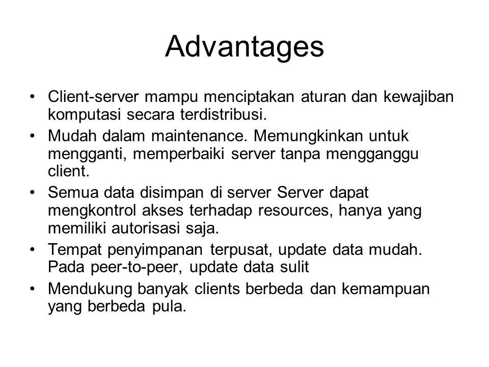 Advantages Client-server mampu menciptakan aturan dan kewajiban komputasi secara terdistribusi. Mudah dalam maintenance. Memungkinkan untuk mengganti,