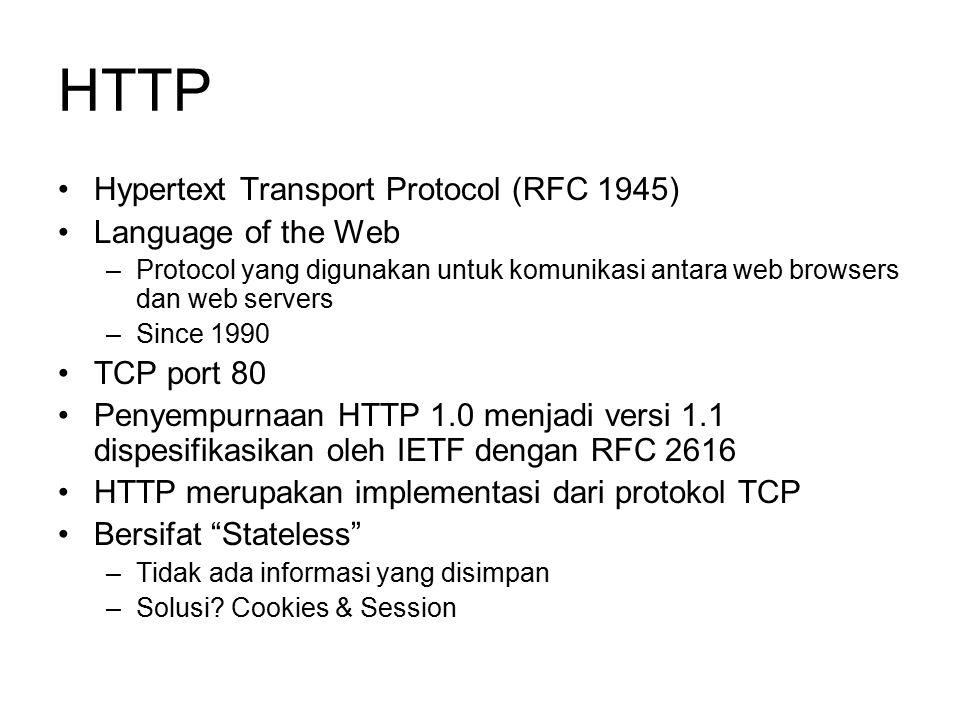 HTTP Hypertext Transport Protocol (RFC 1945) Language of the Web –Protocol yang digunakan untuk komunikasi antara web browsers dan web servers –Since