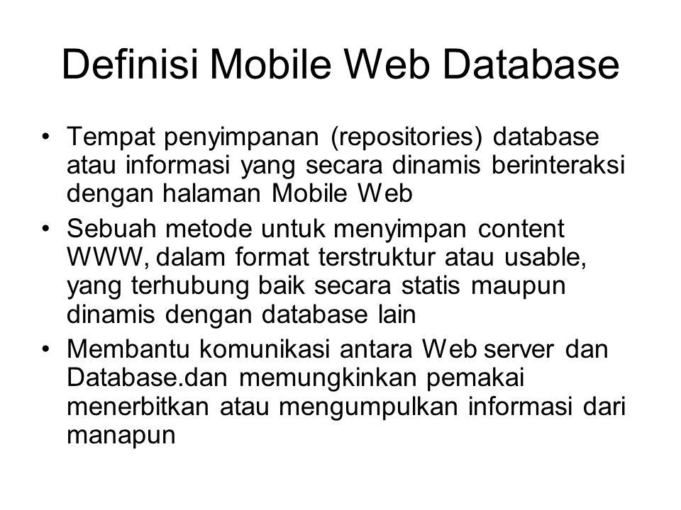 Definisi Mobile Web Database Tempat penyimpanan (repositories) database atau informasi yang secara dinamis berinteraksi dengan halaman Mobile Web Sebu