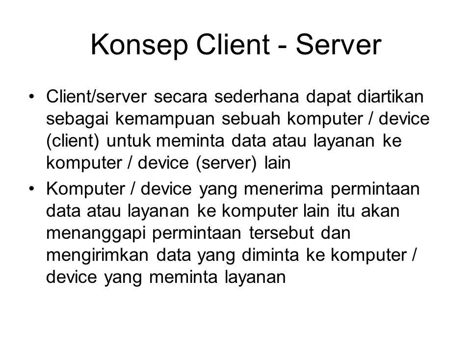 Konsep Client - Server Client/server secara sederhana dapat diartikan sebagai kemampuan sebuah komputer / device (client) untuk meminta data atau laya