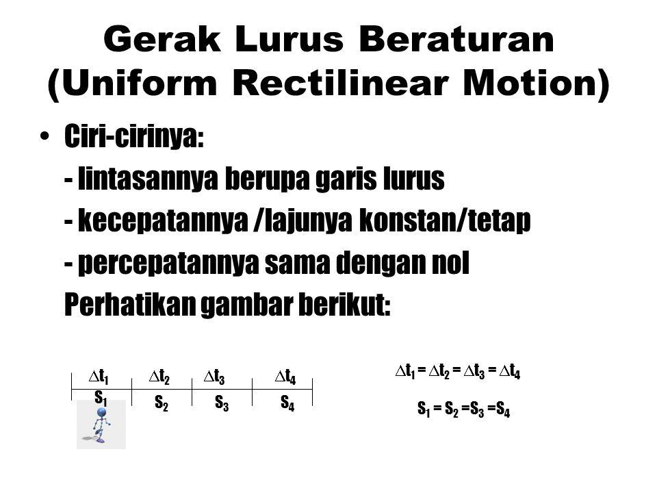 Gerak Lurus Beraturan (Uniform Rectilinear Motion) Ciri-cirinya: - lintasannya berupa garis lurus - kecepatannya /lajunya konstan/tetap - percepatanny