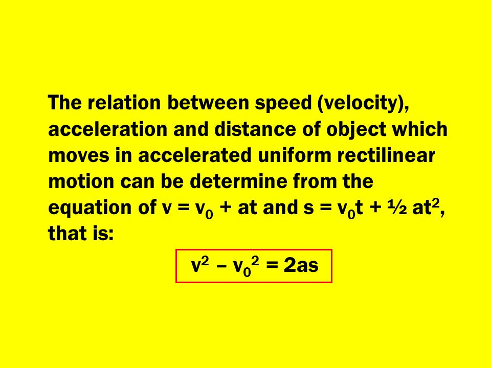 The relation between speed (velocity), acceleration and distance of object which moves in accelerated uniform rectilinear motion can be determine from