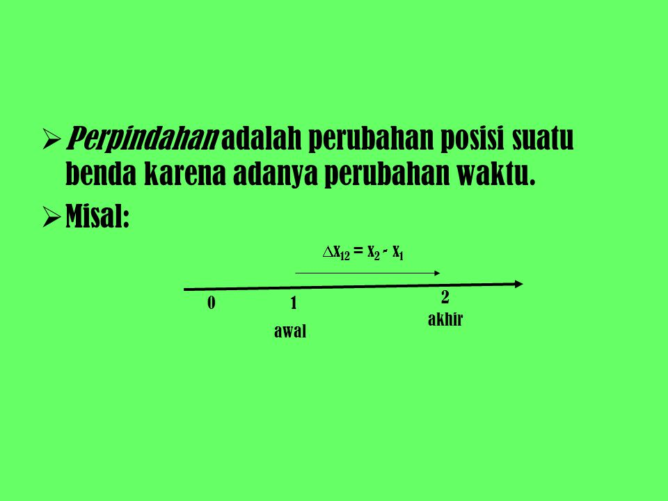 PPerpindahan adalah perubahan posisi suatu benda karena adanya perubahan waktu. MMisal: 01 2 awal akhir  x 12 = x 2 - x 1