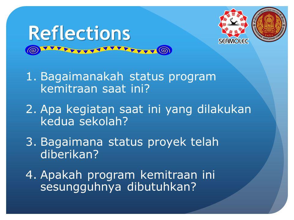 Reflections 1.Bagaimanakah status program kemitraan saat ini? 2.Apa kegiatan saat ini yang dilakukan kedua sekolah? 3.Bagaimana status proyek telah di