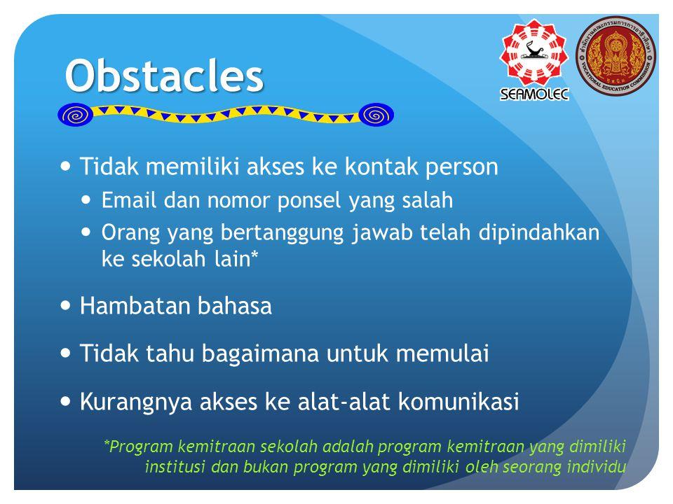 Obstacles Tidak memiliki akses ke kontak person Email dan nomor ponsel yang salah Orang yang bertanggung jawab telah dipindahkan ke sekolah lain* Hamb