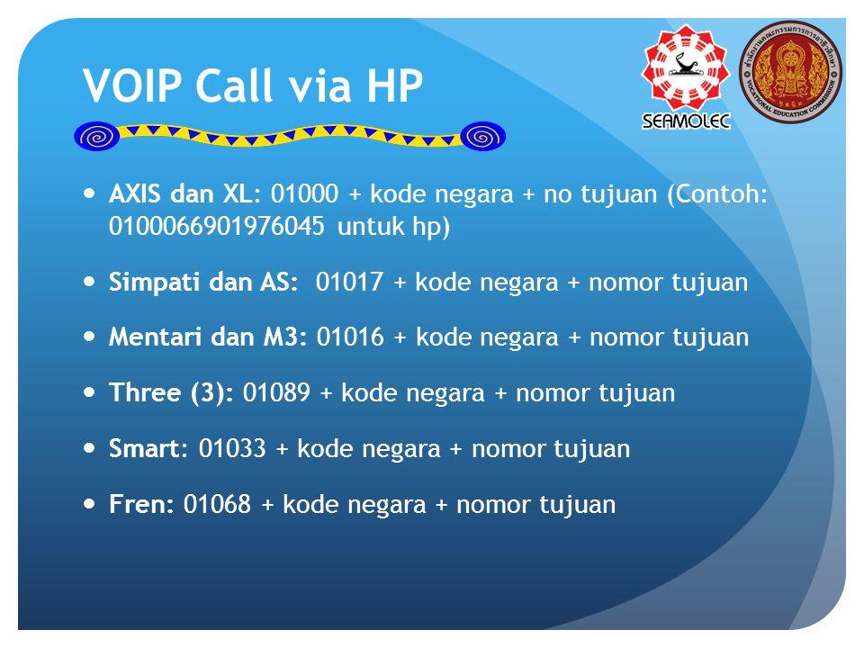 VOIP Call via HP AXIS dan XL: 01000 + kode negara + no tujuan (Contoh: 0100066901976045 untuk hp) Simpati dan AS: 01017 + kode negara + nomor tujuan Mentari dan M3: 01016 + kode negara + nomor tujuan Three (3): 01089 + kode negara + nomor tujuan Smart: 01033 + kode negara + nomor tujuan Fren: 01068 + kode negara + nomor tujuan