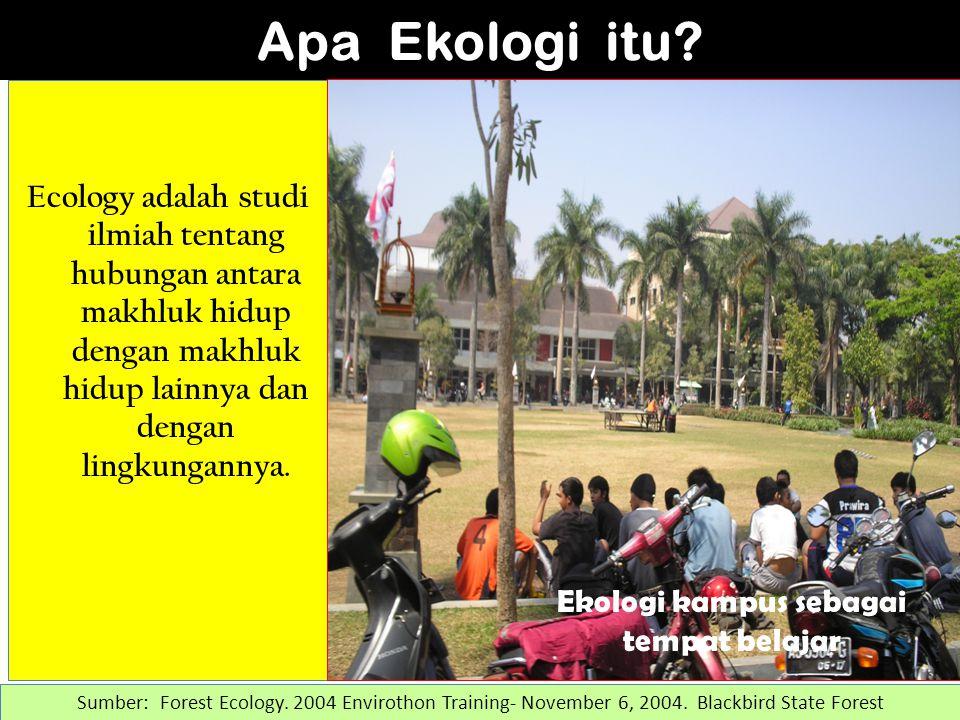 Ecology adalah studi ilmiah tentang hubungan antara makhluk hidup dengan makhluk hidup lainnya dan dengan lingkungannya.