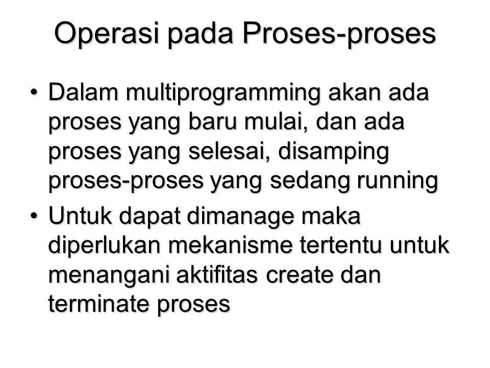 Operasi pada Proses-proses Dalam multiprogramming akan ada proses yang baru mulai, dan ada proses yang selesai, disamping proses-proses yang sedang ru