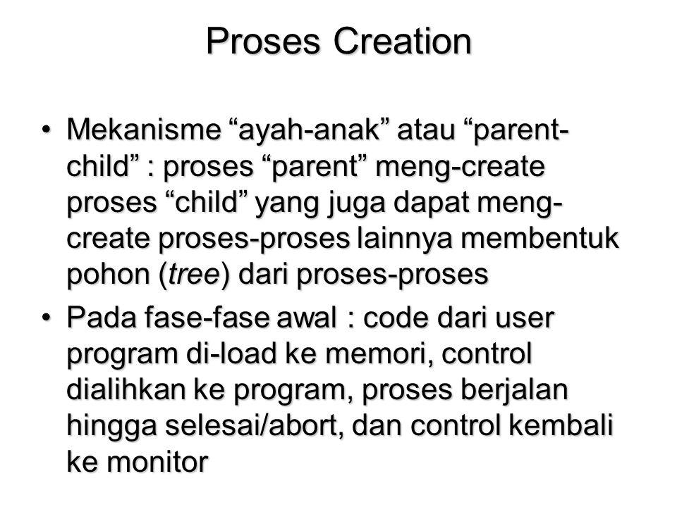 "Proses Creation Mekanisme ""ayah-anak"" atau ""parent- child"" : proses ""parent"" meng-create proses ""child"" yang juga dapat meng- create proses-proses lai"