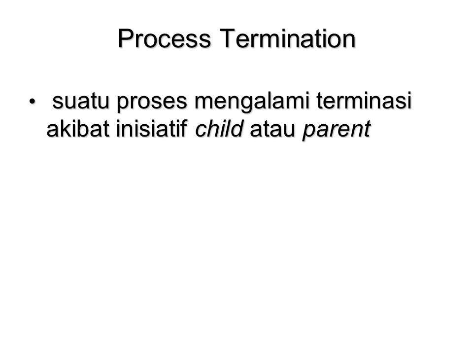 Process Termination suatu proses mengalami terminasi akibat inisiatif child atau parent suatu proses mengalami terminasi akibat inisiatif child atau p