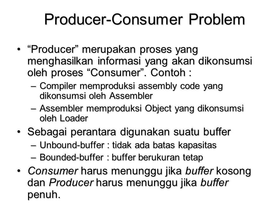 "Producer-Consumer Problem ""Producer"" merupakan proses yang menghasilkan informasi yang akan dikonsumsi oleh proses ""Consumer"". Contoh :""Producer"" meru"