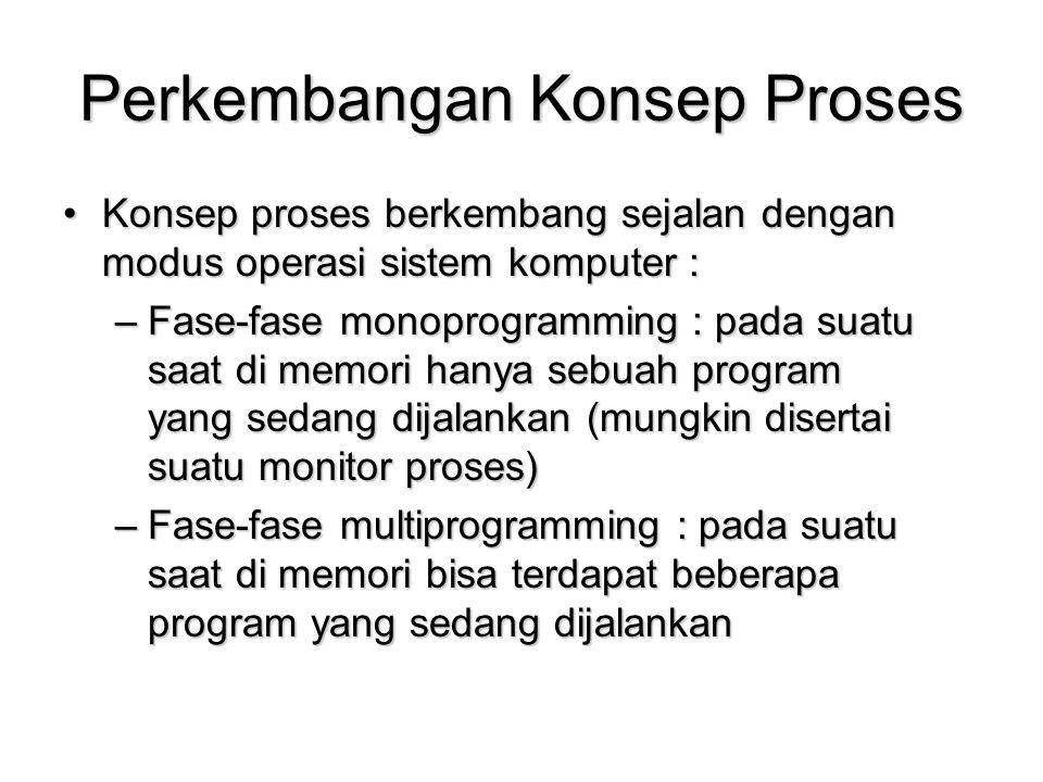 Perkembangan Konsep Proses Konsep proses berkembang sejalan dengan modus operasi sistem komputer :Konsep proses berkembang sejalan dengan modus operas