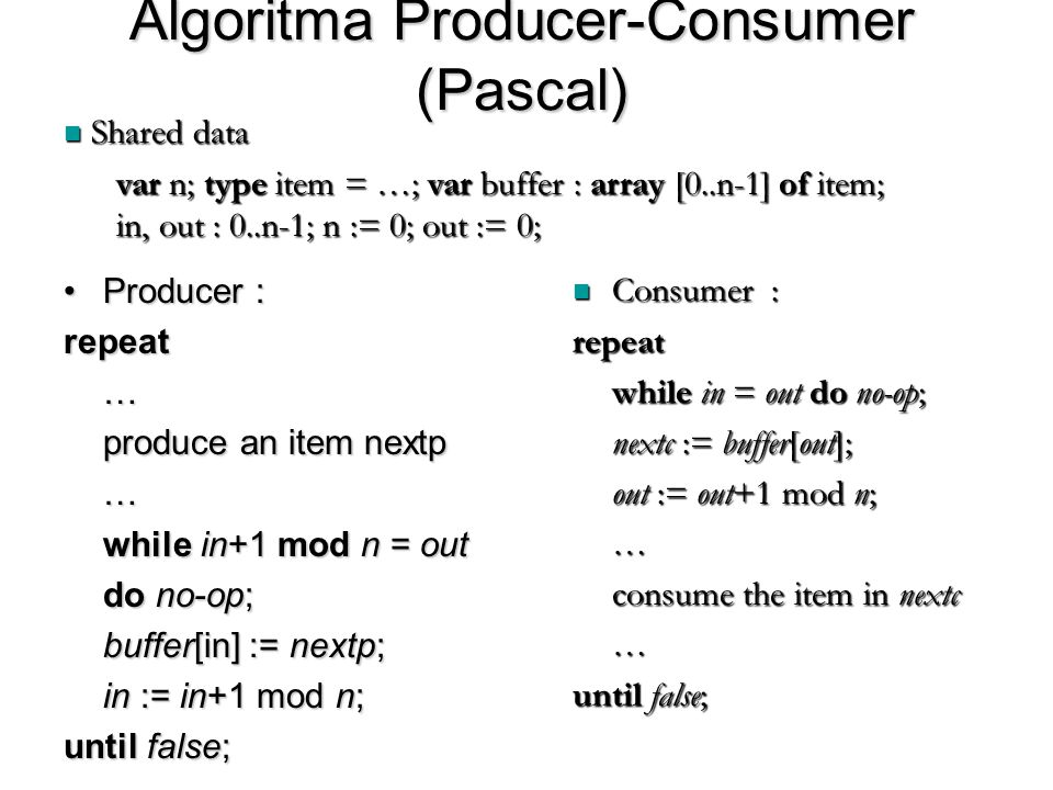 Algoritma Producer-Consumer (Pascal) Producer :Producer :repeat… produce an item nextp … while in+1 mod n = out do no-op; buffer[in] := nextp; in := i