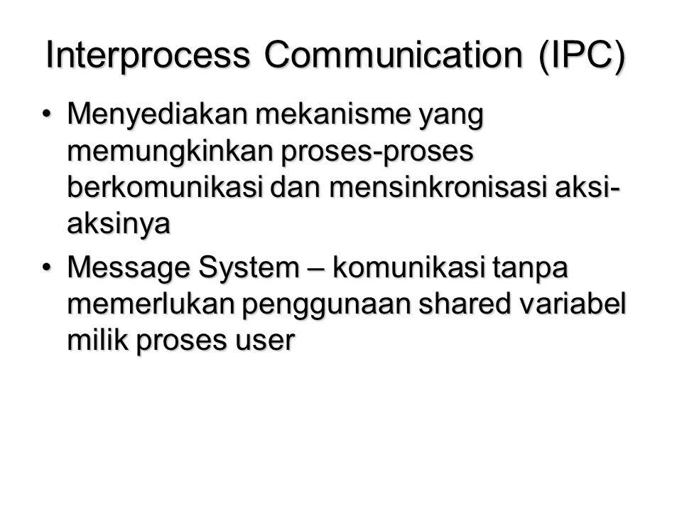 Interprocess Communication (IPC) Menyediakan mekanisme yang memungkinkan proses-proses berkomunikasi dan mensinkronisasi aksi- aksinyaMenyediakan meka