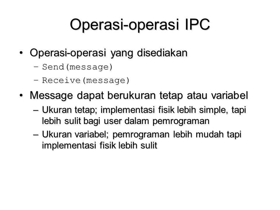 Operasi-operasi IPC Operasi-operasi yang disediakanOperasi-operasi yang disediakan –Send(message) –Receive(message) Message dapat berukuran tetap atau