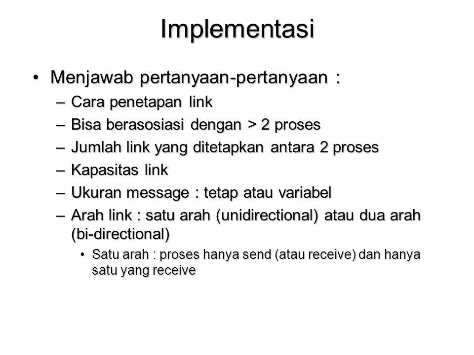 Implementasi Menjawab pertanyaan-pertanyaan :Menjawab pertanyaan-pertanyaan : –Cara penetapan link –Bisa berasosiasi dengan > 2 proses –Jumlah link ya