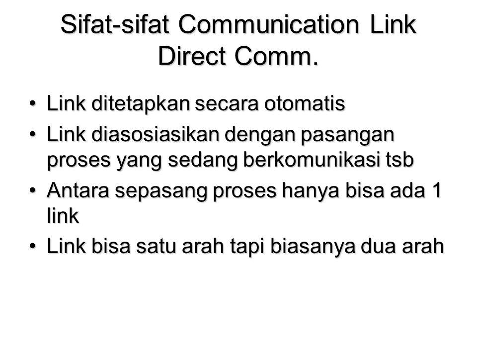 Sifat-sifat Communication Link Direct Comm. Link ditetapkan secara otomatisLink ditetapkan secara otomatis Link diasosiasikan dengan pasangan proses y