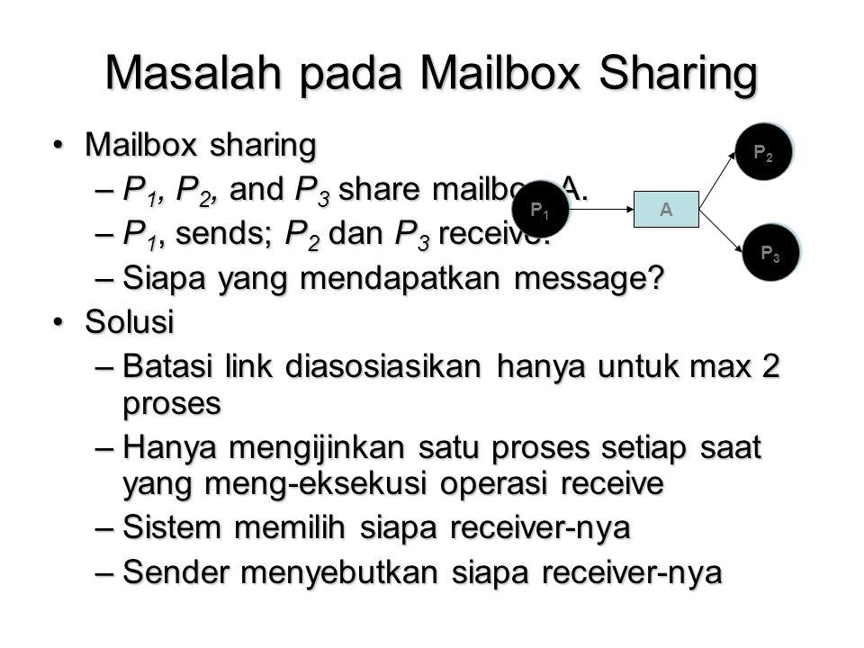 Masalah pada Mailbox Sharing Mailbox sharingMailbox sharing –P 1, P 2, and P 3 share mailbox A. –P 1, sends; P 2 dan P 3 receive. –Siapa yang mendapat