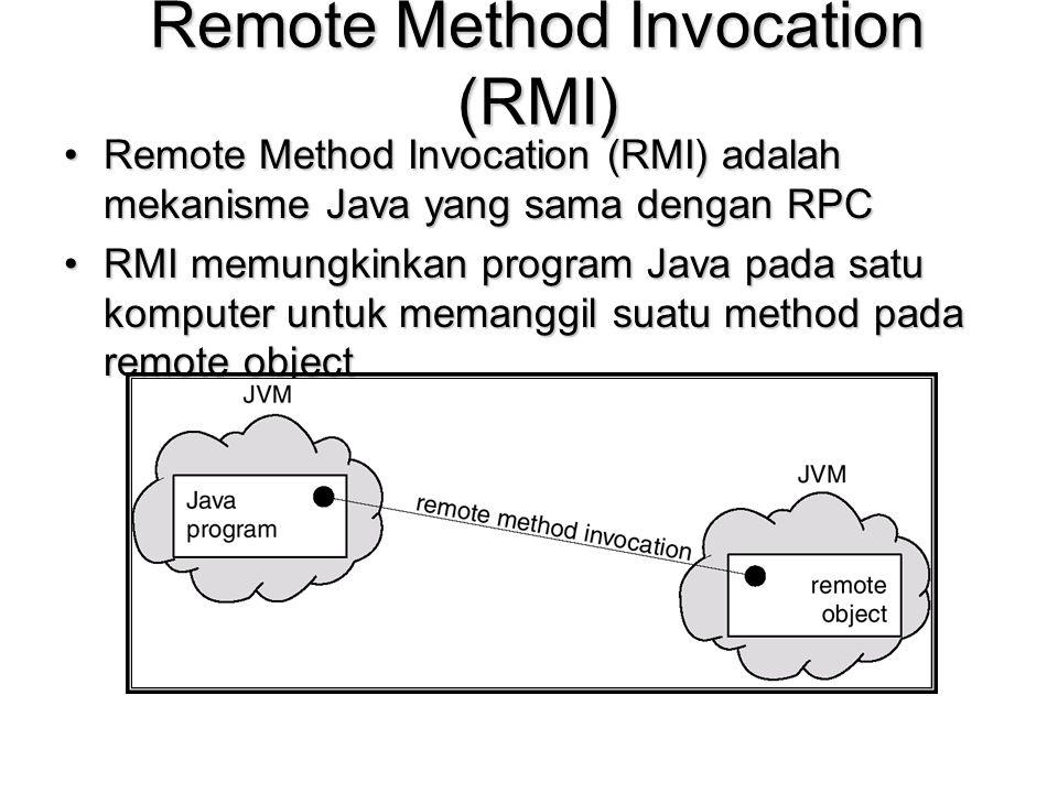 Remote Method Invocation (RMI) Remote Method Invocation (RMI) adalah mekanisme Java yang sama dengan RPCRemote Method Invocation (RMI) adalah mekanism