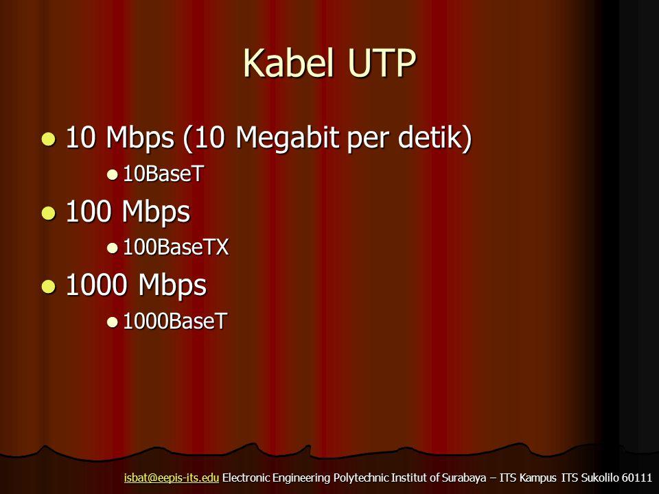 isbat@eepis-its.eduisbat@eepis-its.edu Electronic Engineering Polytechnic Institut of Surabaya – ITS Kampus ITS Sukolilo 60111 isbat@eepis-its.edu Kabel UTP 10 Mbps (10 Megabit per detik) 10 Mbps (10 Megabit per detik) 10BaseT 10BaseT 100 Mbps 100 Mbps 100BaseTX 100BaseTX 1000 Mbps 1000 Mbps 1000BaseT 1000BaseT