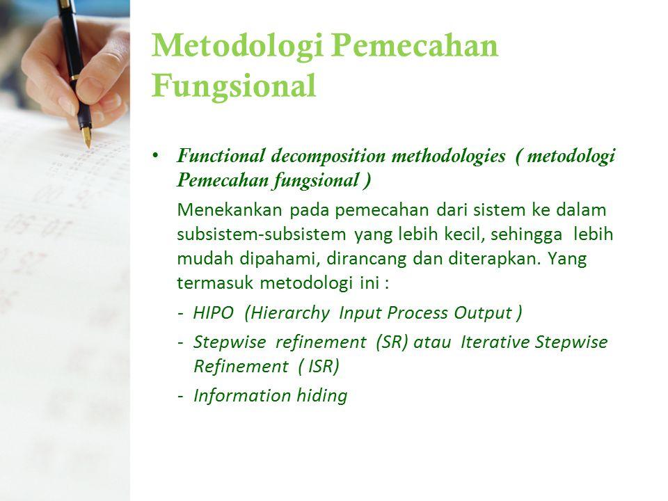 Metodologi Pemecahan Fungsional Functional decomposition methodologies ( metodologi Pemecahan fungsional ) Menekankan pada pemecahan dari sistem ke da